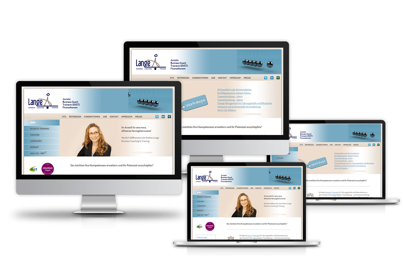 Website für Andrea Lange Business Coaching & Training, Frankfurt am Main