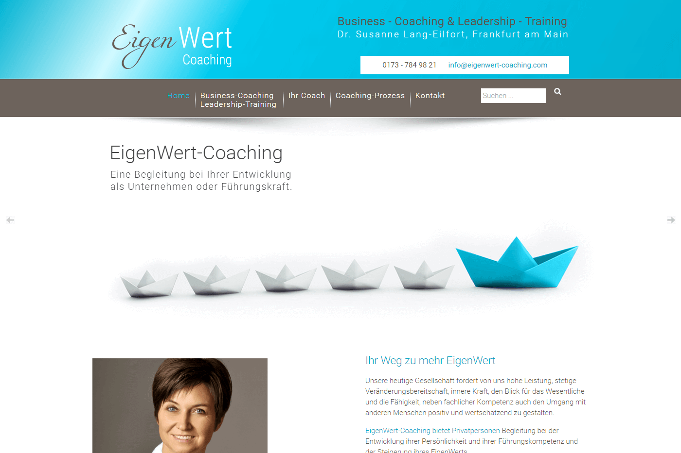 Website für EigenWert-Coaching, Frankfurt am Main