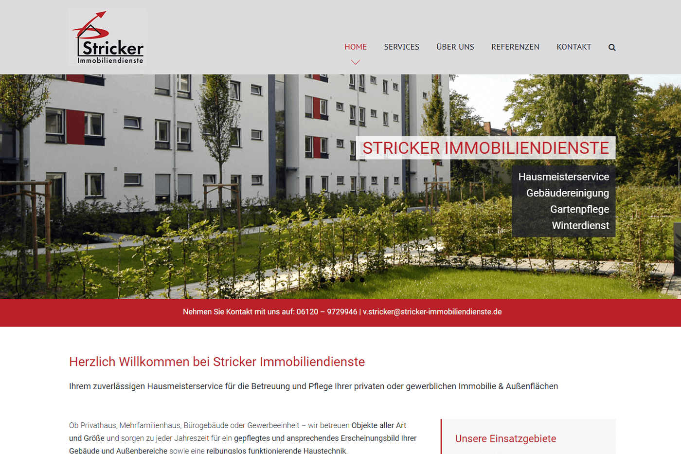 Website für Immobiliendienste Stricker Wiesbaden
